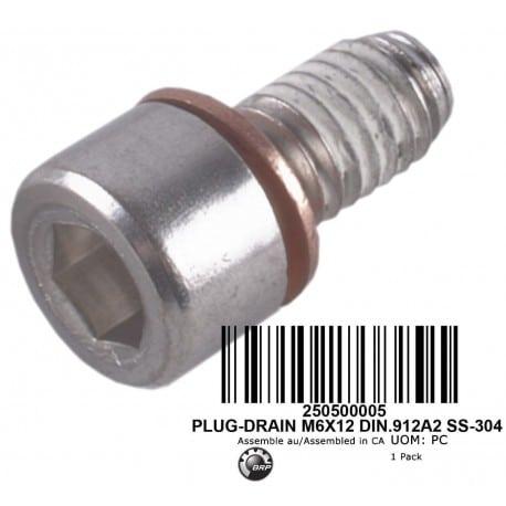 PLUG-DRAIN M6X12 DIN.912A2 SS-304